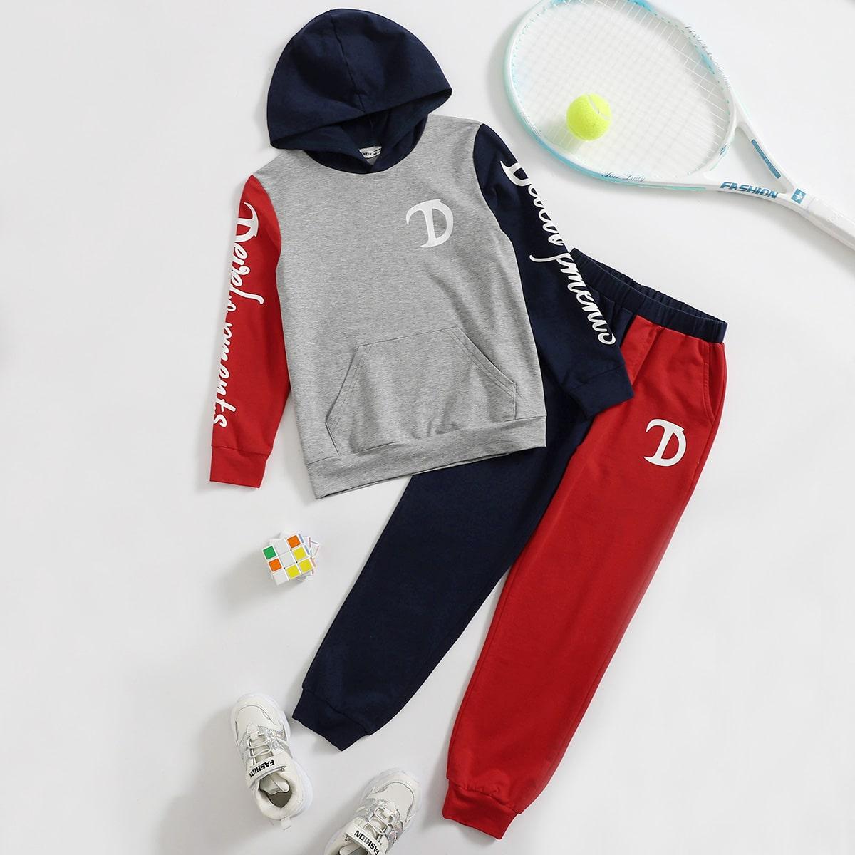 Толстовка с текстовым принтом и контрастные спортивные брюки для мальчиков