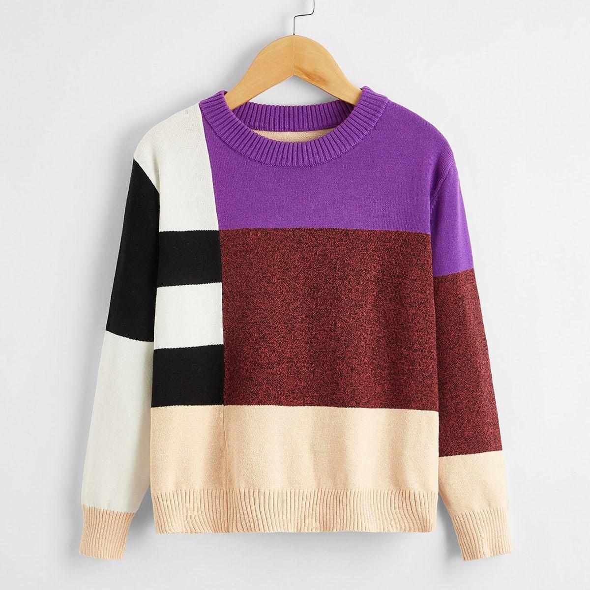 Контрастный свитер с трикотажным низом для мальчиков