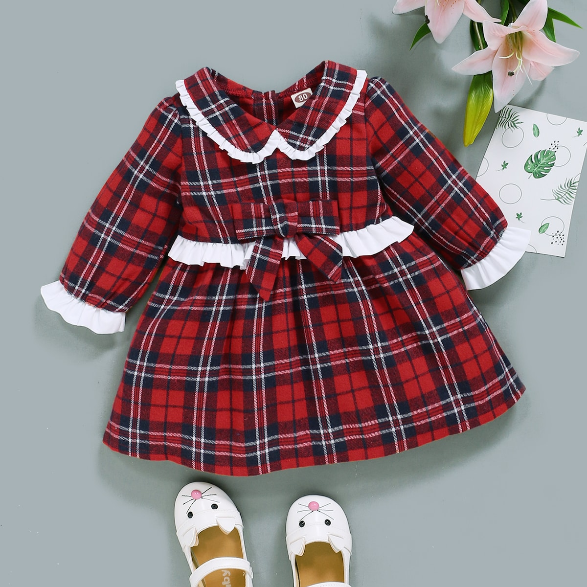Baby Girl Tartan Bow Front Ruffle Trim Smock Dress