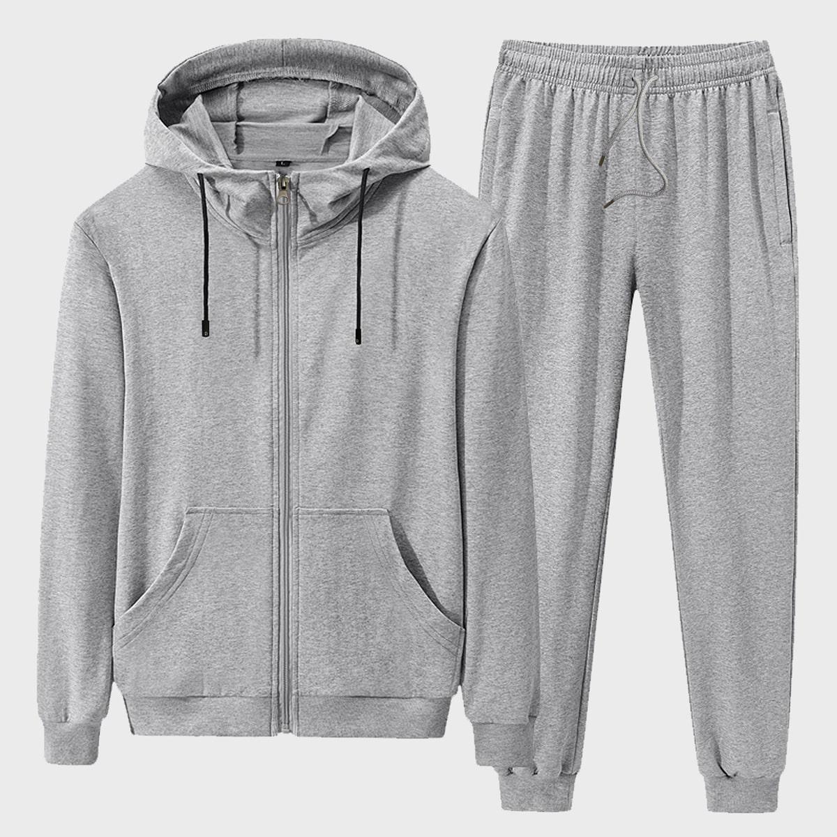 Men Zip Up Drawstring Hoodie & Sweatpants, SHEIN  - buy with discount