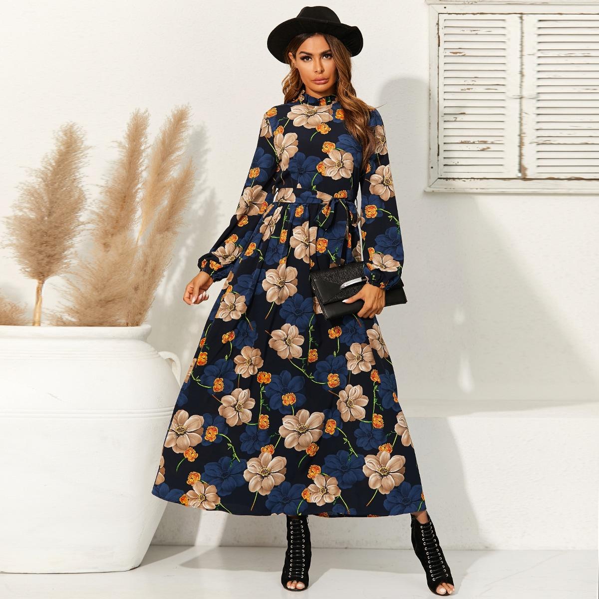 Mock Neck Allover Floral Print Belted Dress