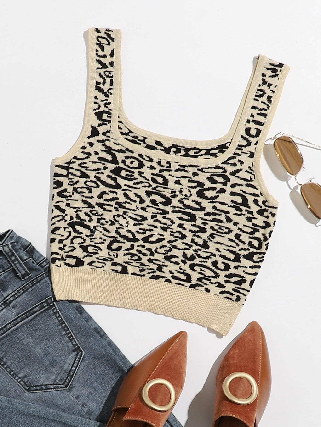Leopard Knit Crop Top thumbnail