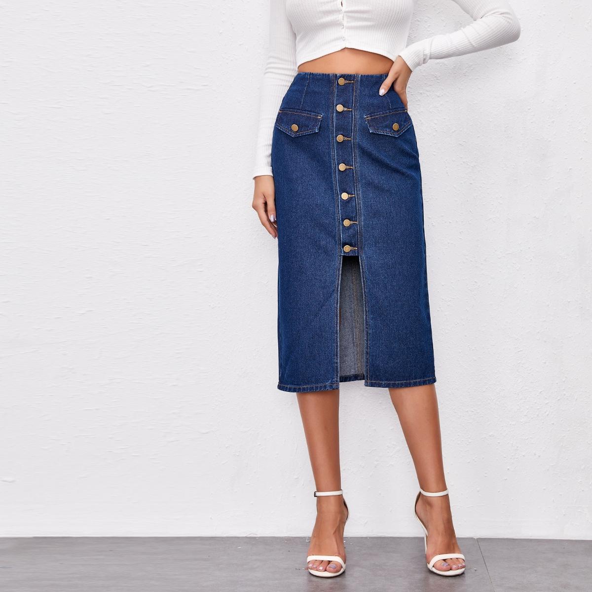Прямая джинсовая юбка с пуговицами