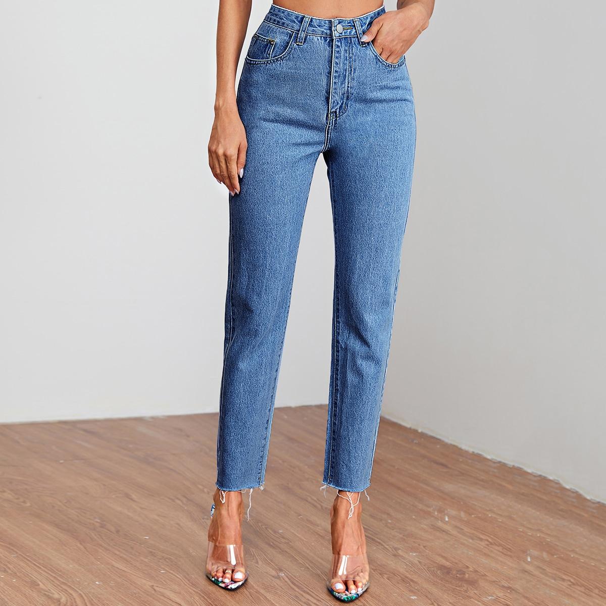 Frayed Raw-Cut High Waisted Jeans