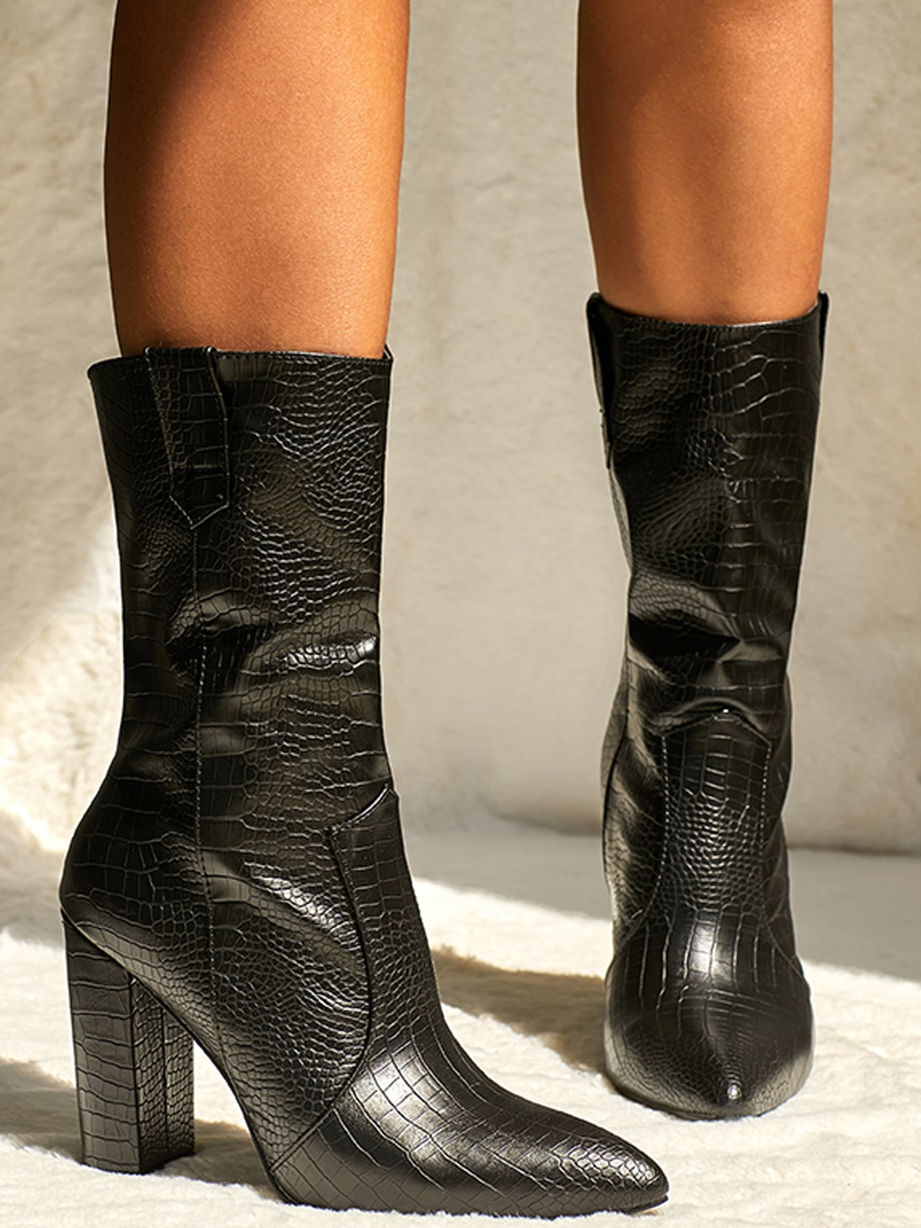 Point Toe Croc Embossed Boots