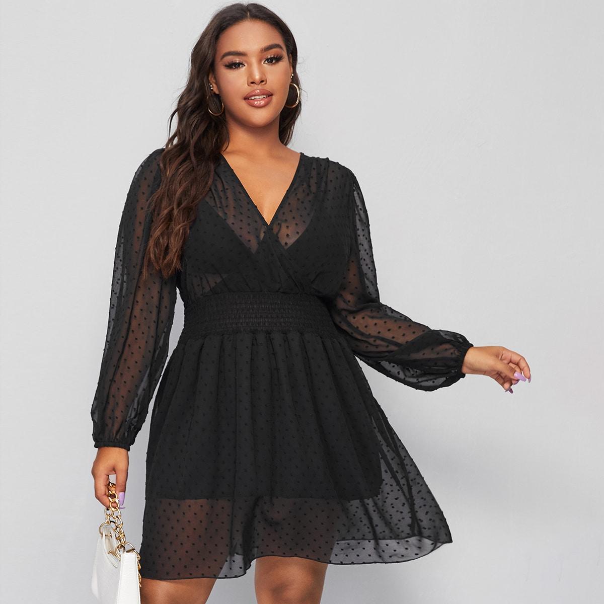 Прозрачное платье размера плюс с v-образным воротником