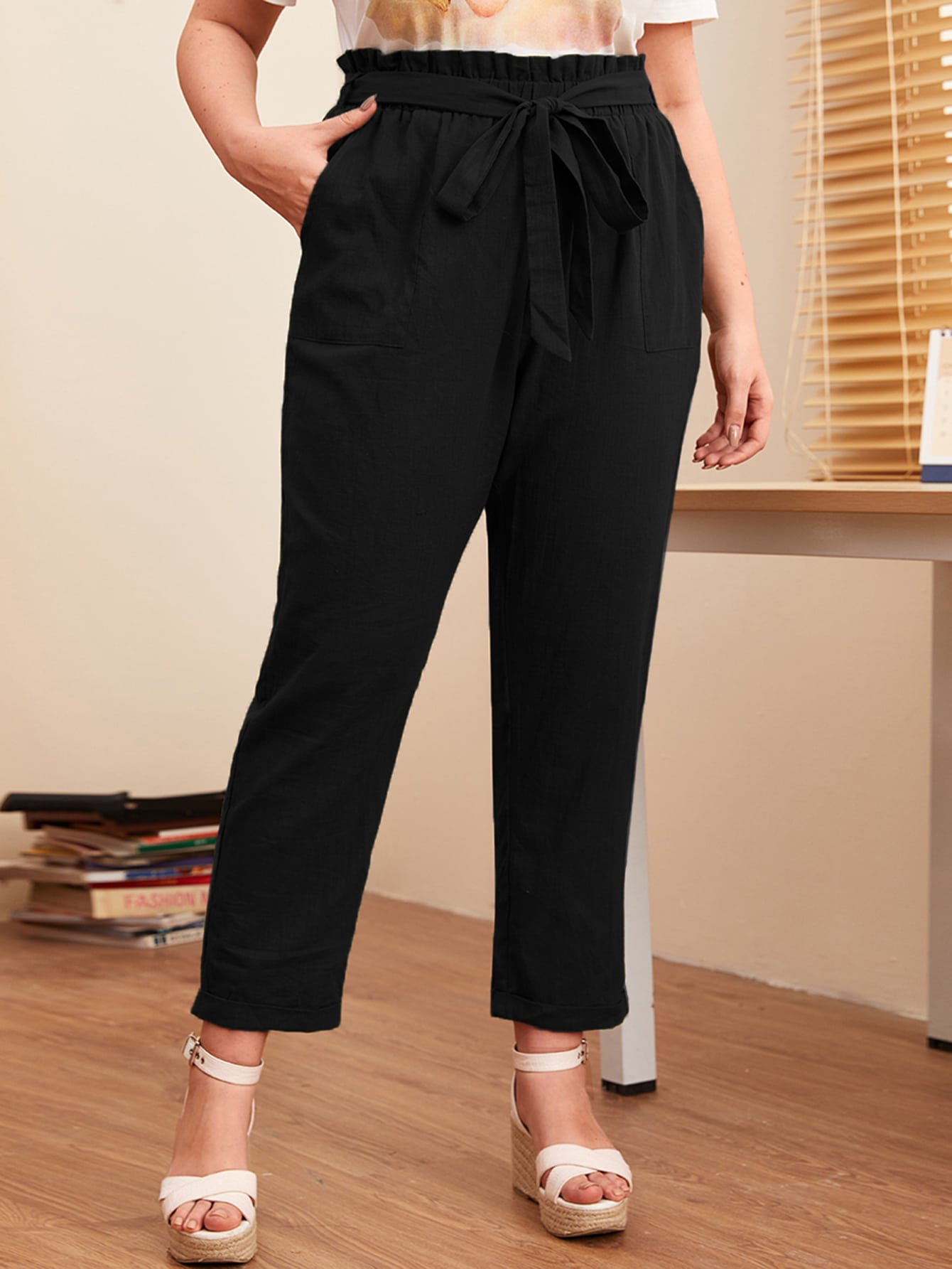 Plus Solid Paperbag Waist Belted Pants thumbnail
