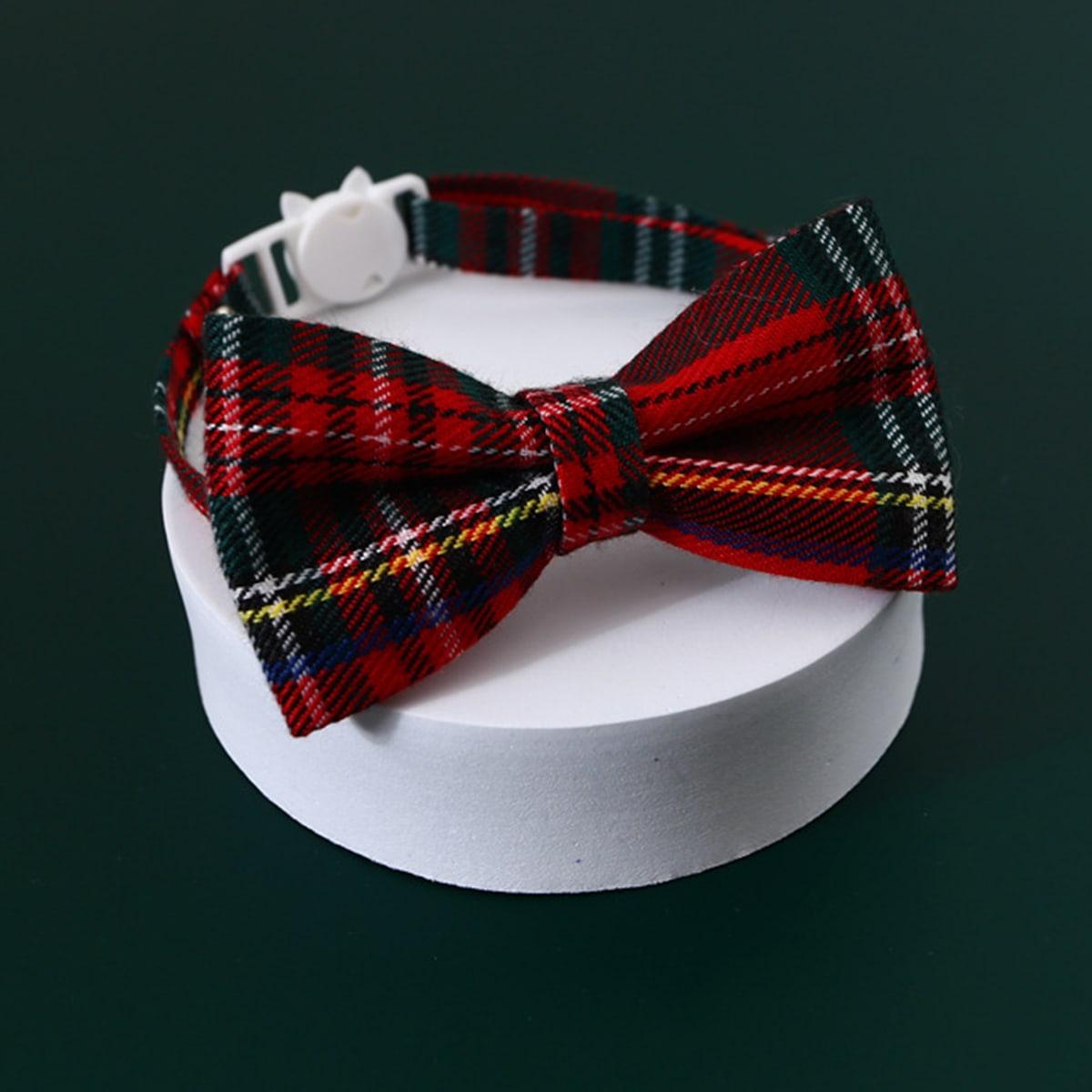 1 Stück Katze Halsband mit Karo Muster und Schleife Dekor