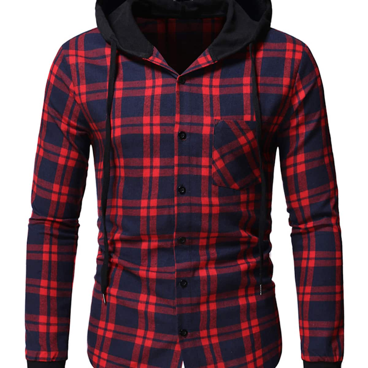 Men Tartan Pocket Front Hooded Flannel Shirt