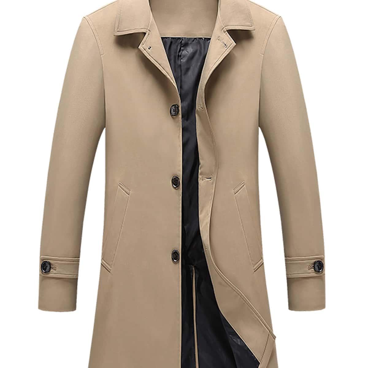 Мужское однобортное пальто тренч