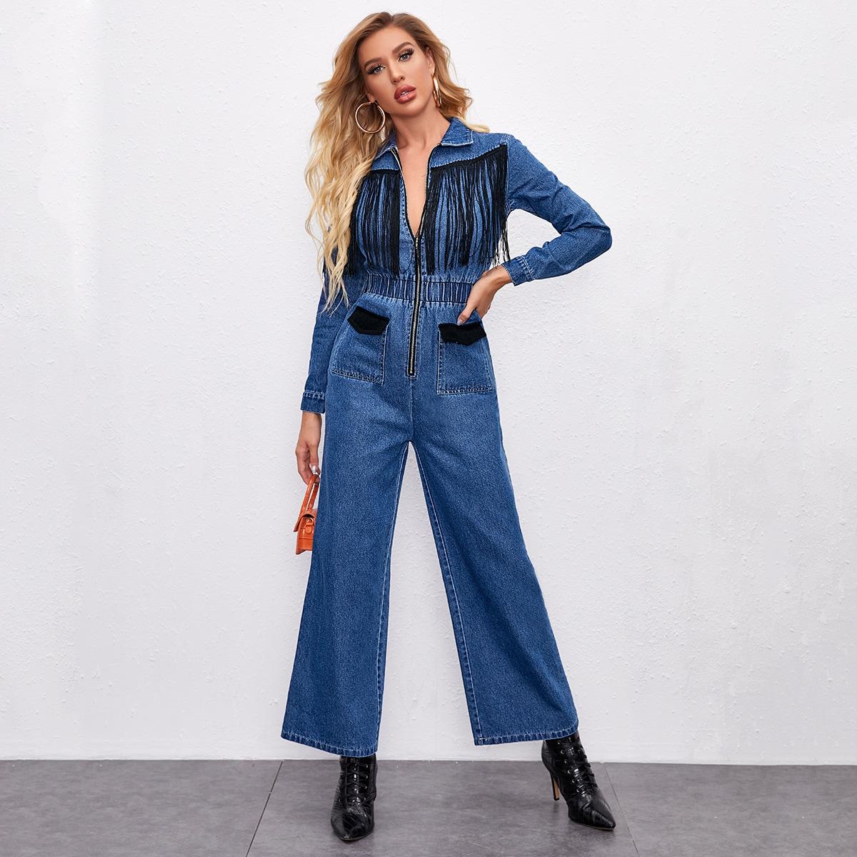 Широкий джинсовый комбинезон с бахромой