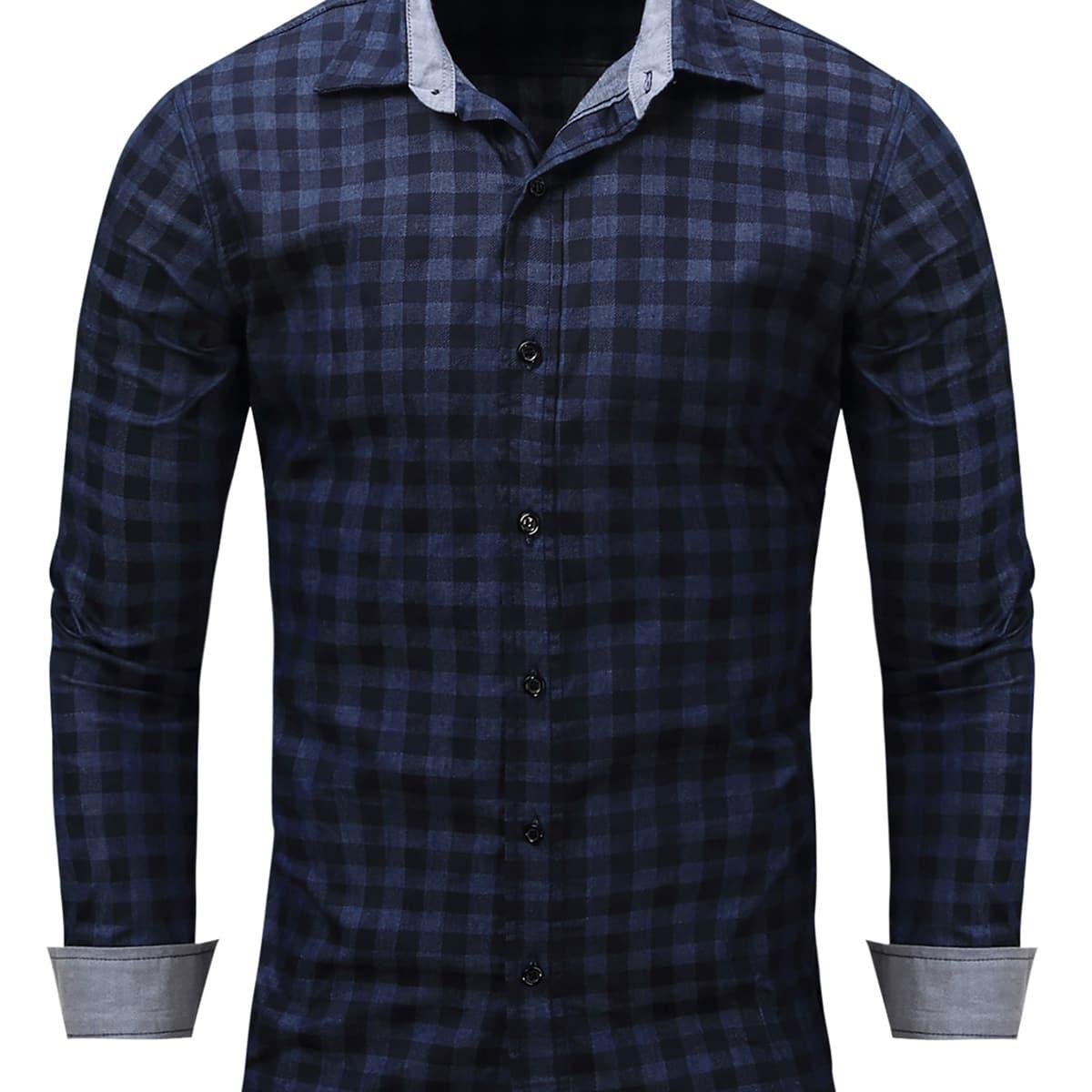 Мужская джинсовая рубашка с пуговицами