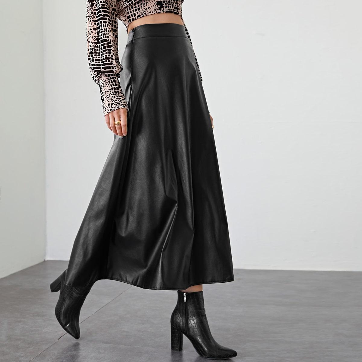Макси юбка из искусственной кожи с молнией