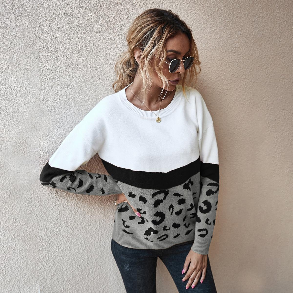 Контрастный свитер с рисунком