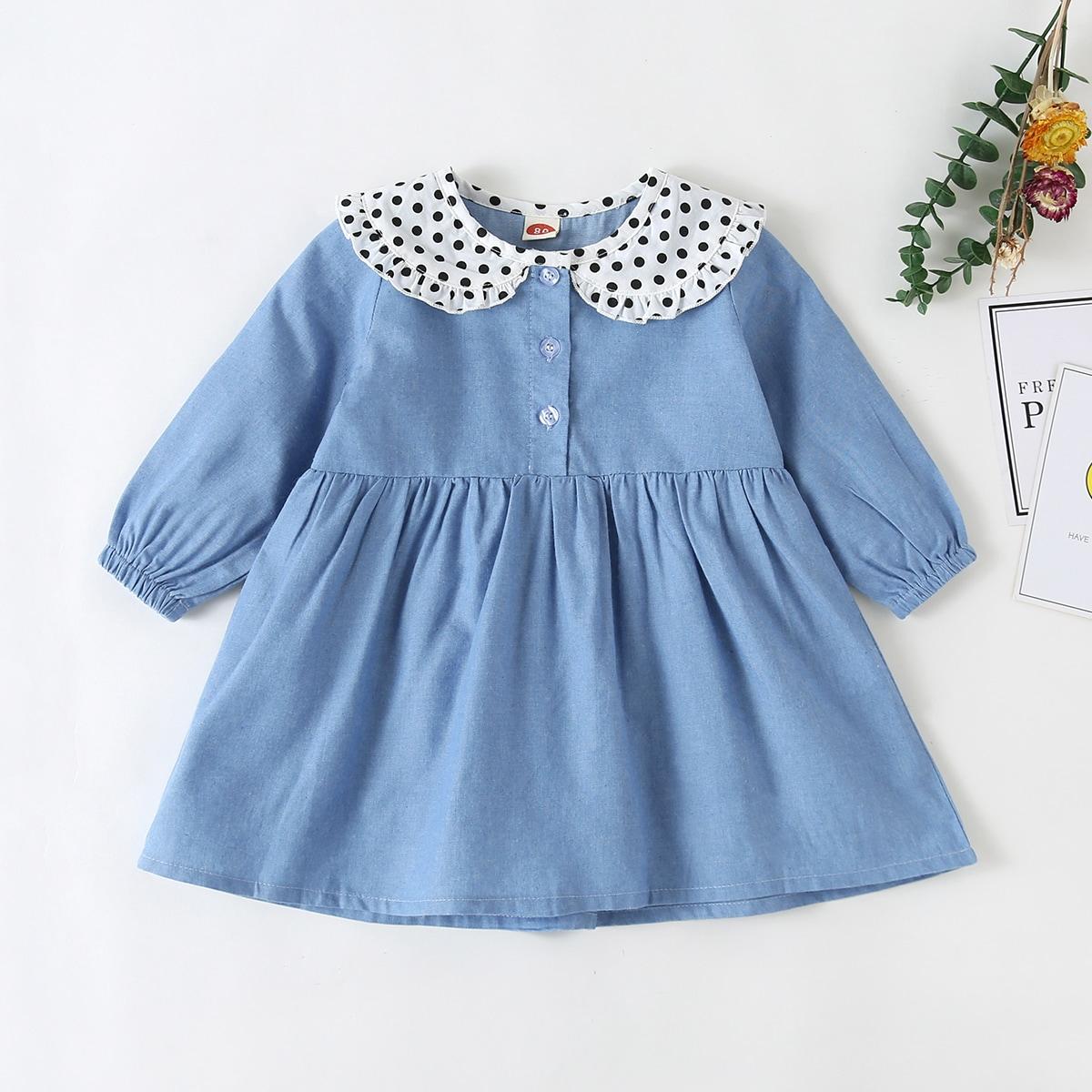 Однобортный Контрастный цвет Деним для малышей от SHEIN