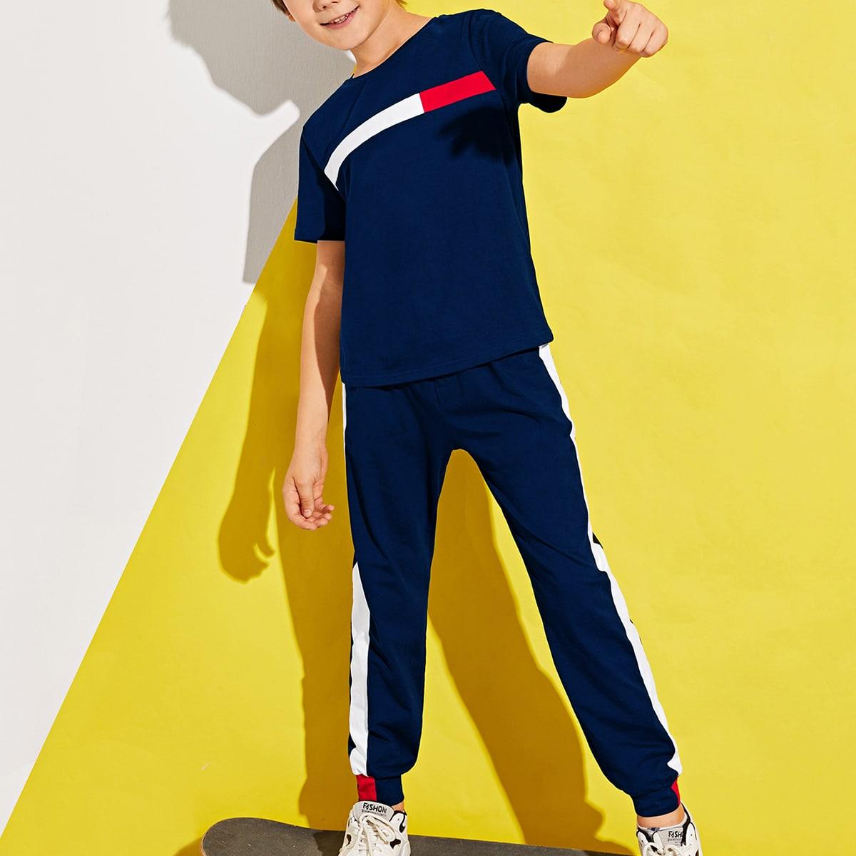 Контрастный топ и брюки для мальчиков
