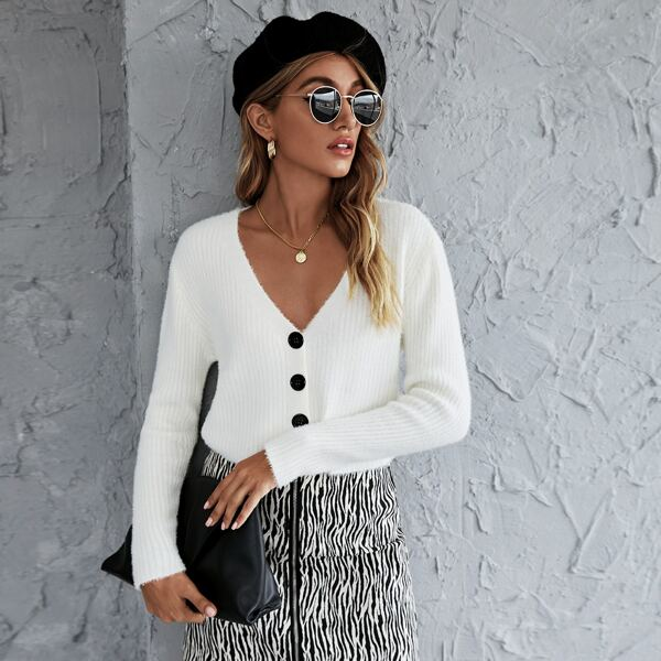 Button Front Ribbed Knit Fuzzy Cardigan, White