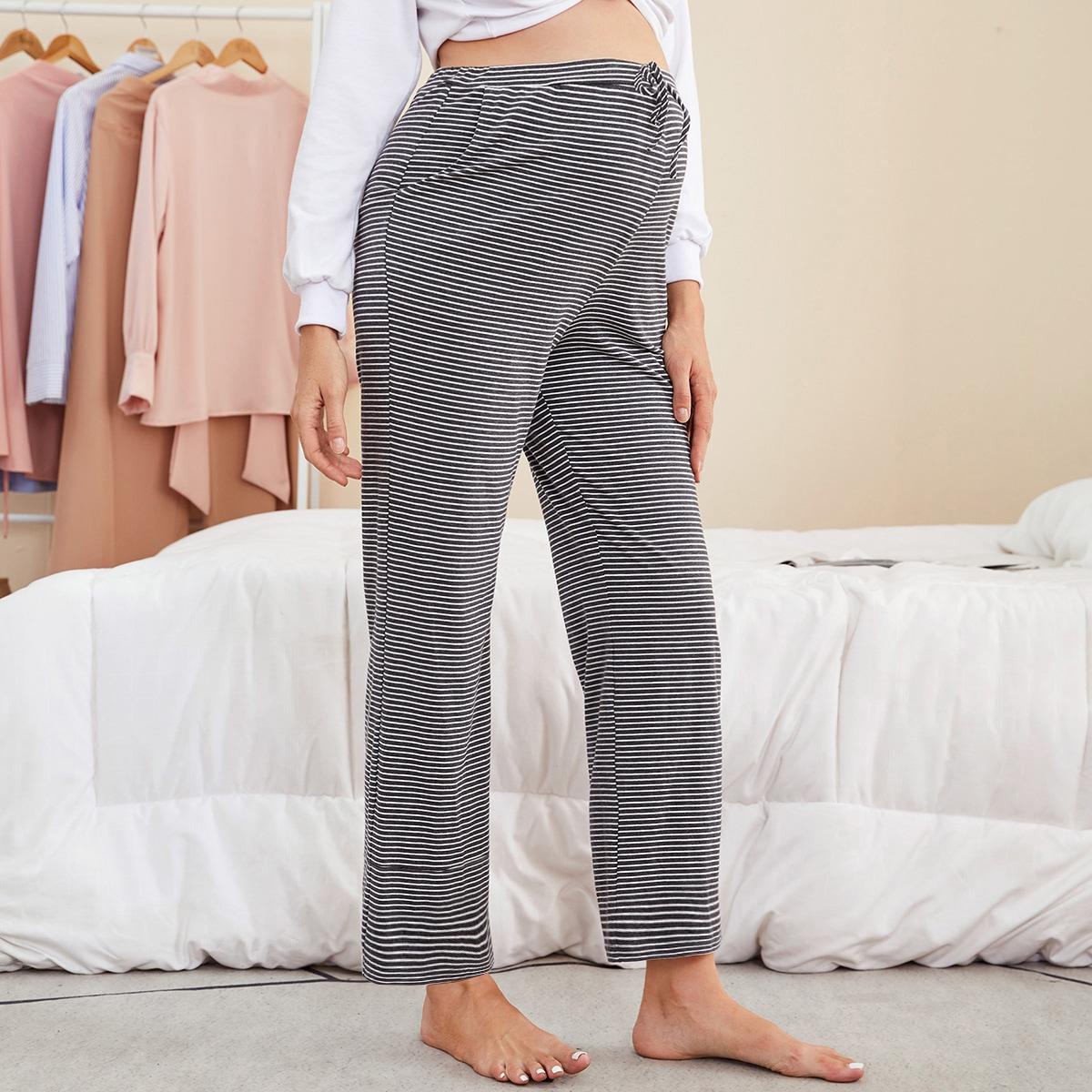 Расклешенные брюки в полоску для беременных