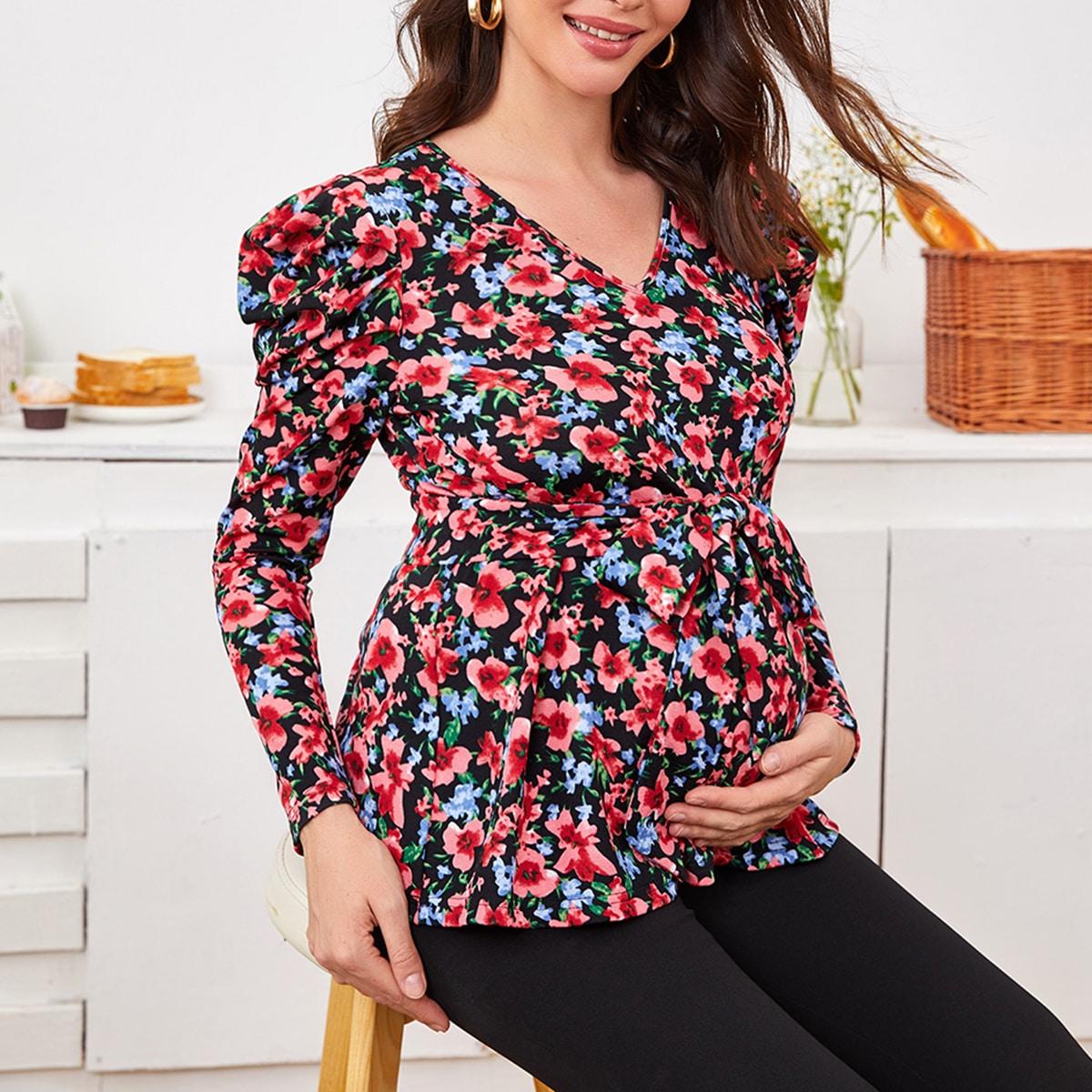 Топ для беременных с цветочным принтом и поясом
