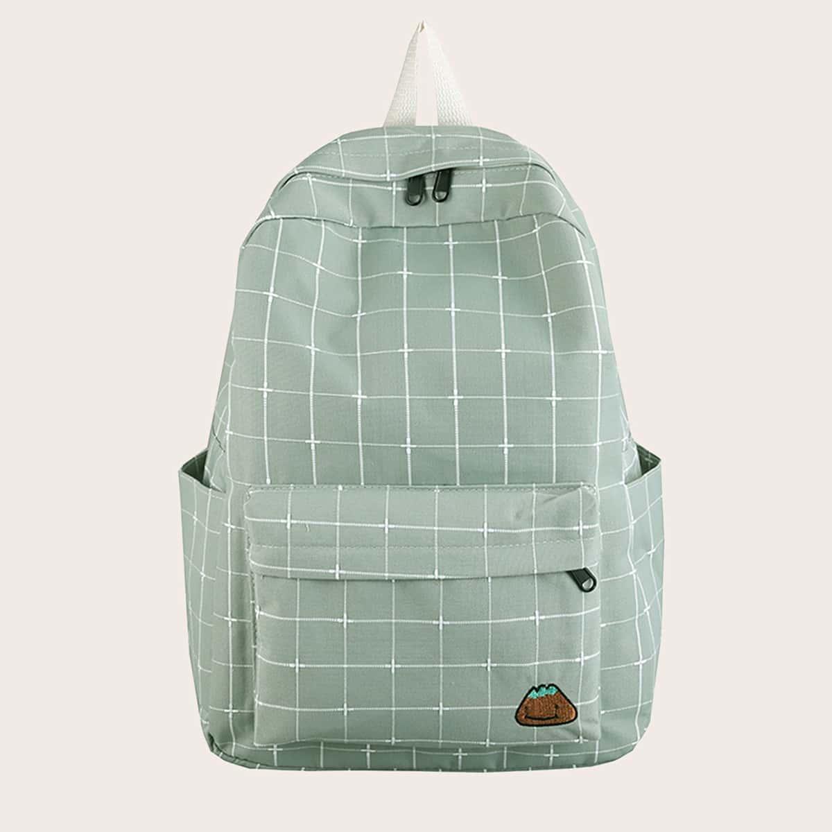 Рюкзак в клетку с карманом