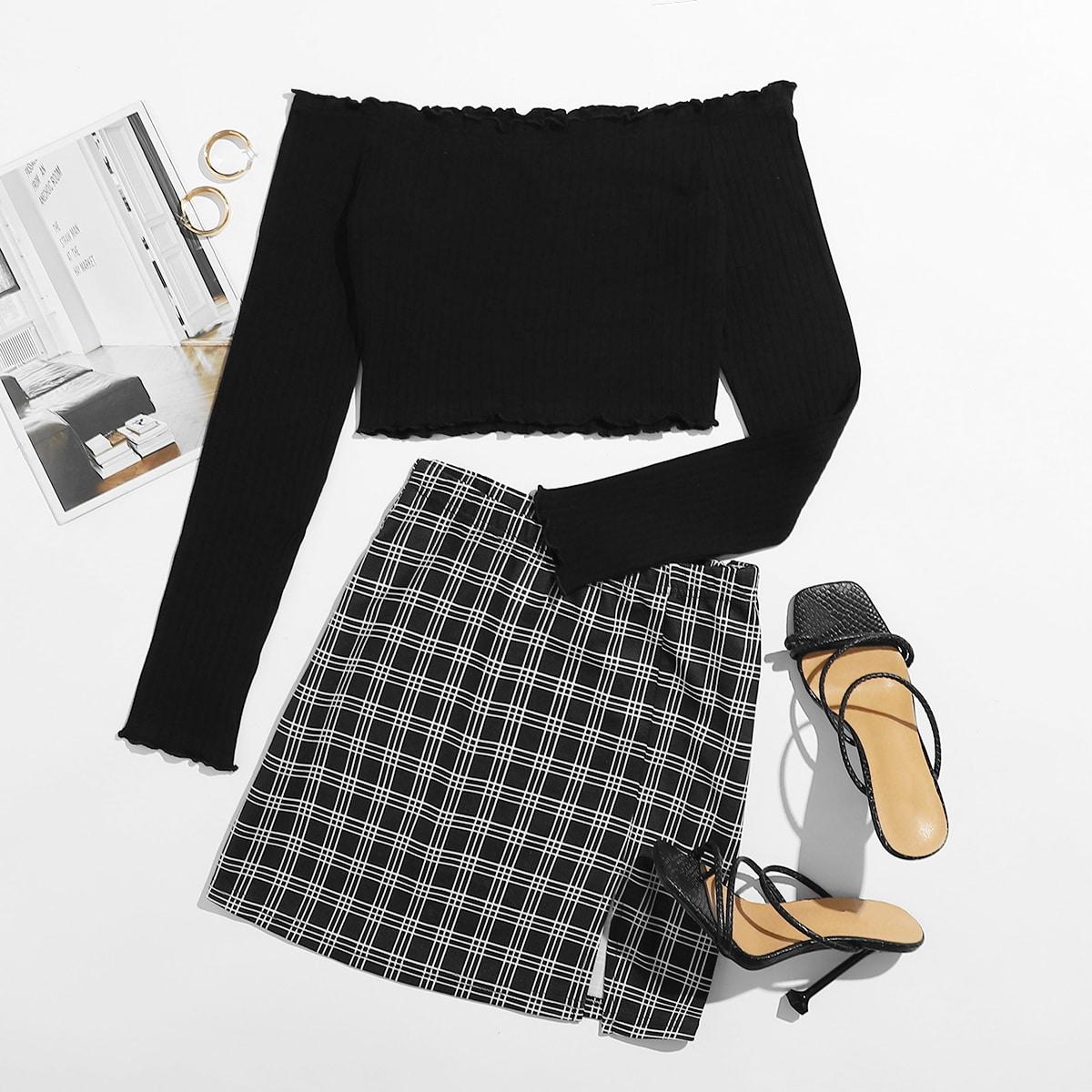 SHEIN / Lettuce-Edge Crop Top & Plaid Mini Skirt Set