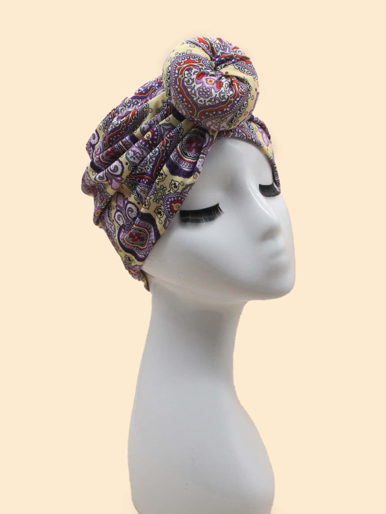 Floral Pattern Turban Hat thumbnail