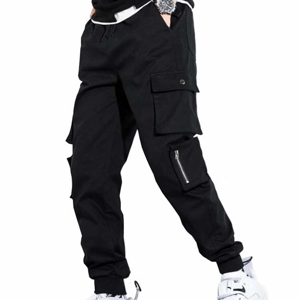 Men Solid Drawstring Cargo Pants, Black