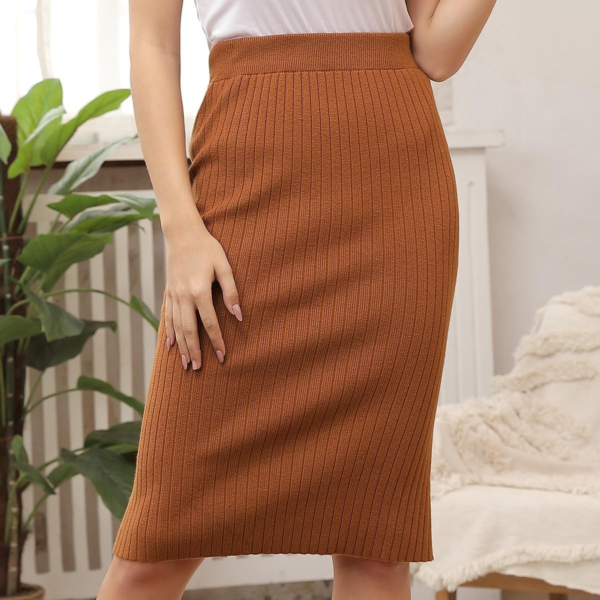 вязаная юбка в рубчик с высокой талией