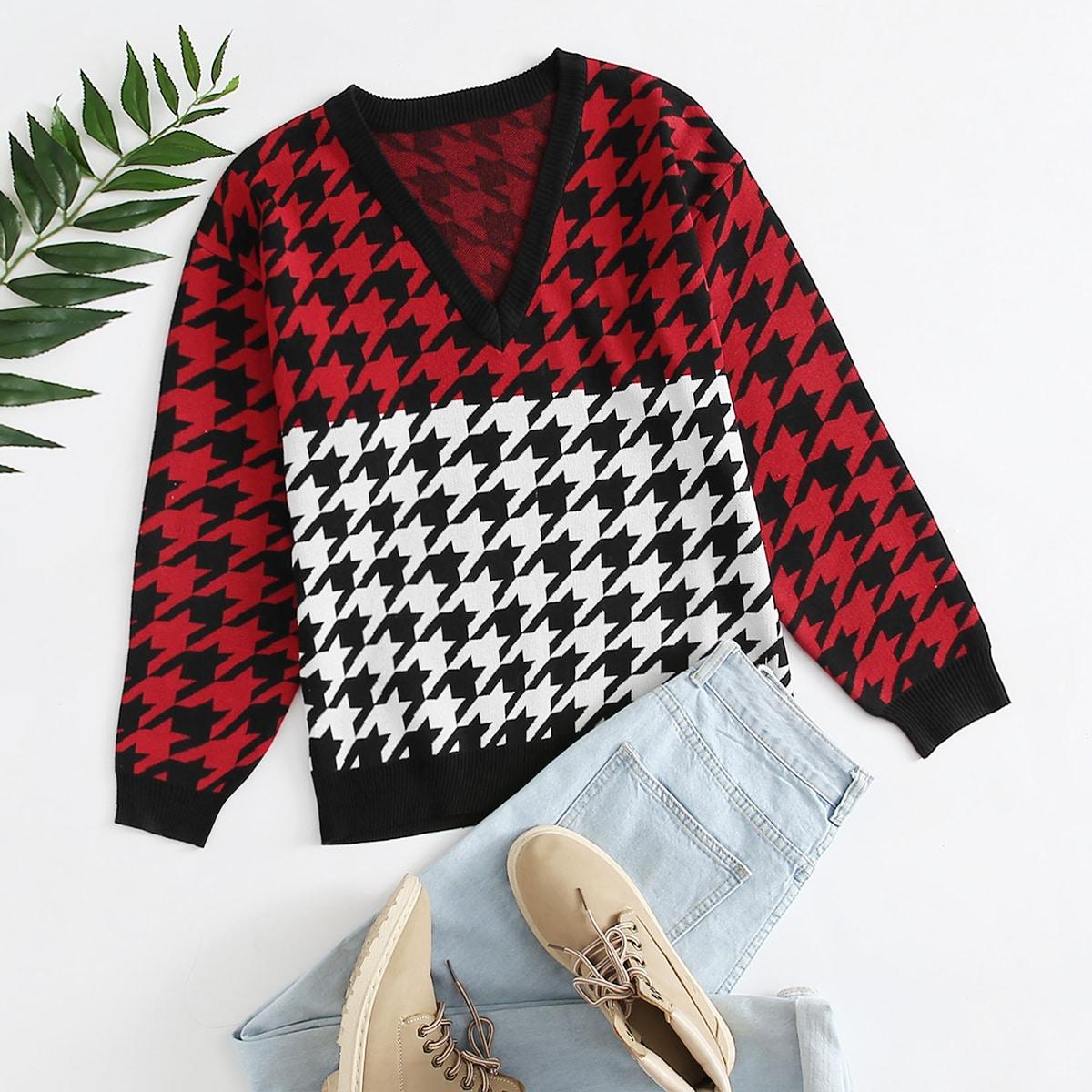 Контрастный цвет повседневный свитер размер плюс
