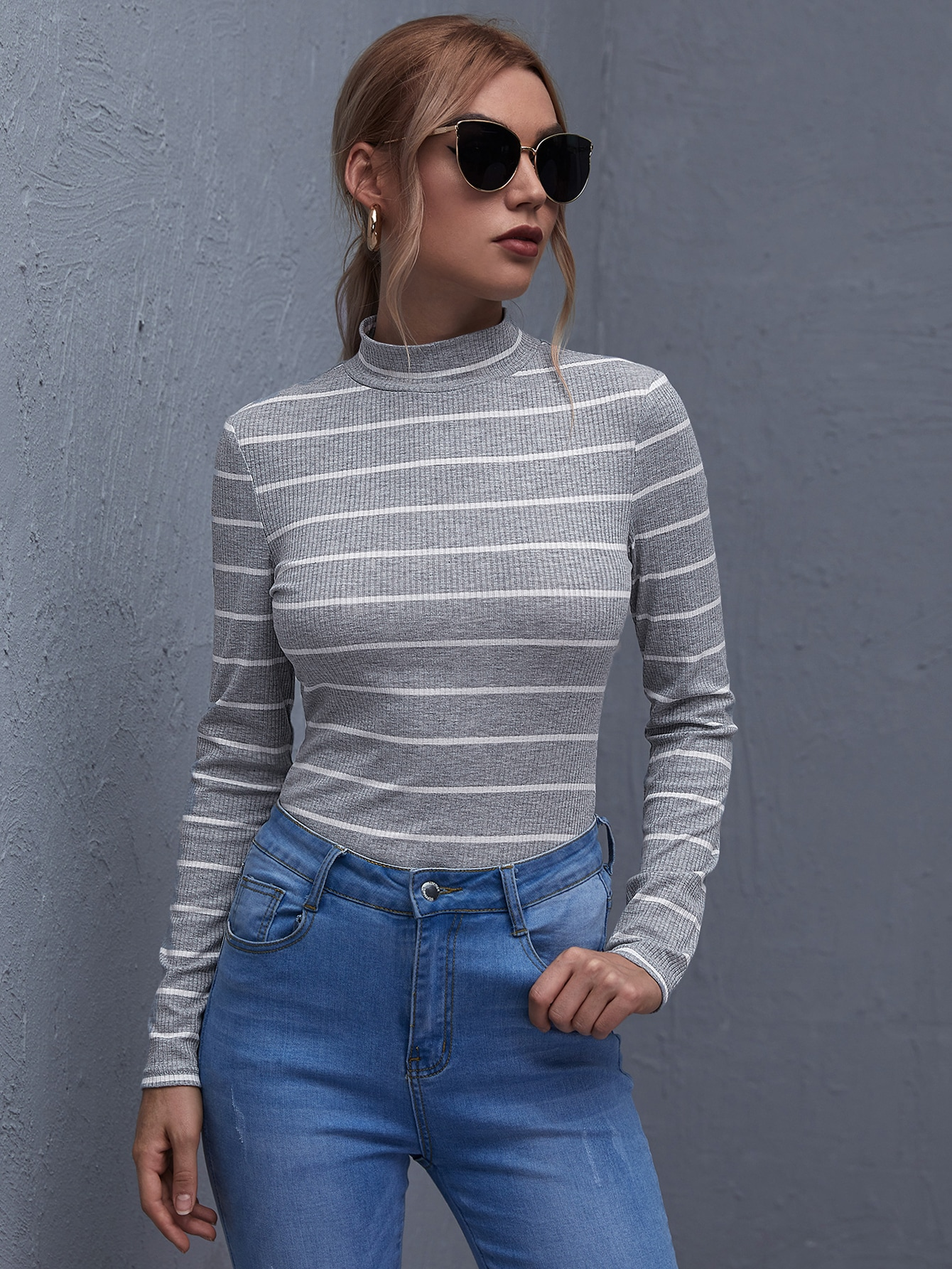 Mock Neck Rib-knit Striped Tee thumbnail
