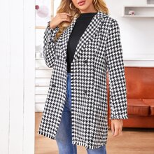 Houndstooth Double-Breasted Tweed Coat