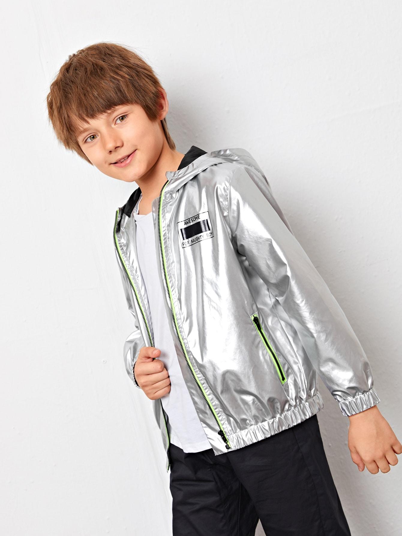 boys contrast piping zipper placket hooded metallic jacket