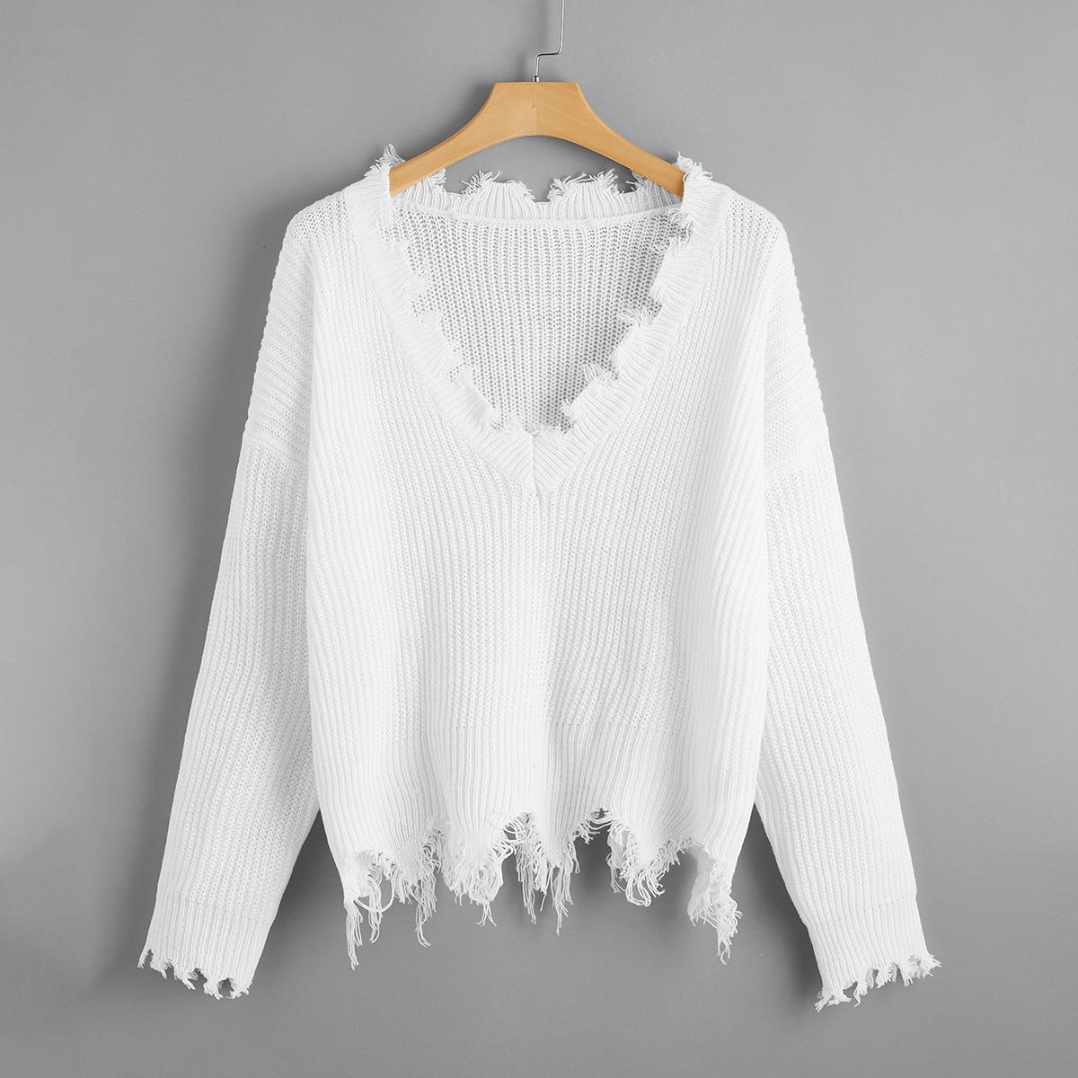 Однотонный рваный свитер размера плюс с v-образным воротником