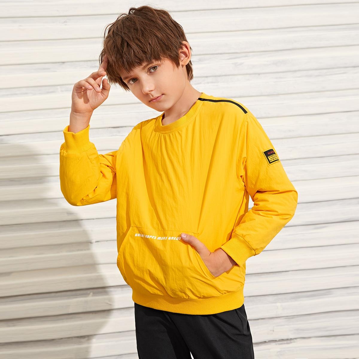Пуловер с текстовым принтом для мальчиков