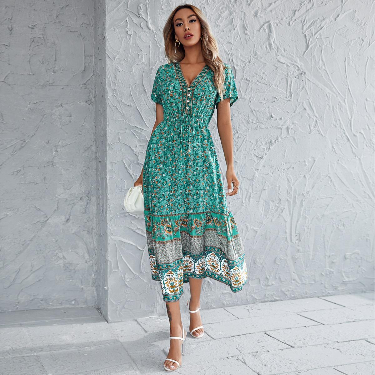 Платье на кулиске с оригинальным принтом