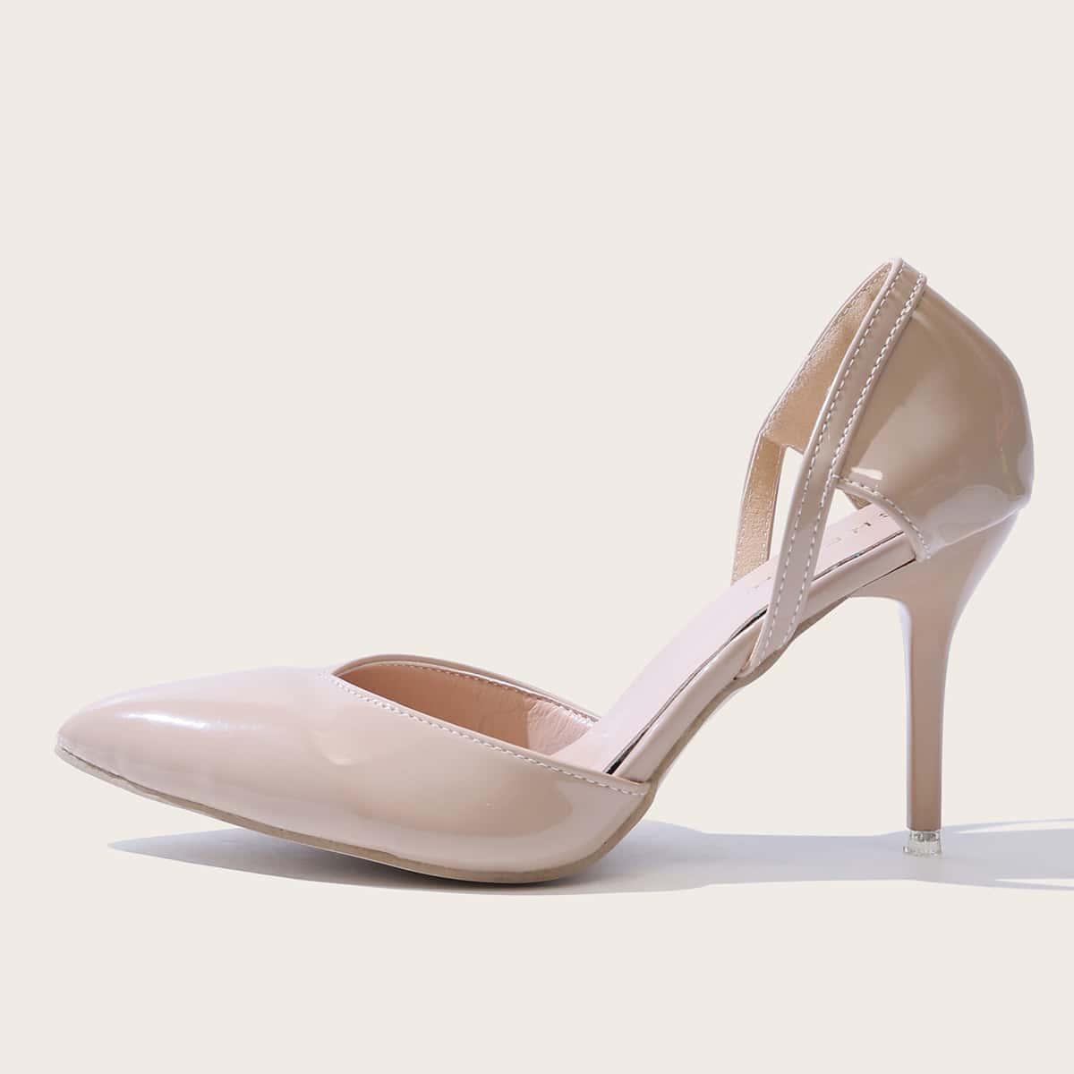 Остроконечные лакированные туфли на высоких каблуках от SHEIN