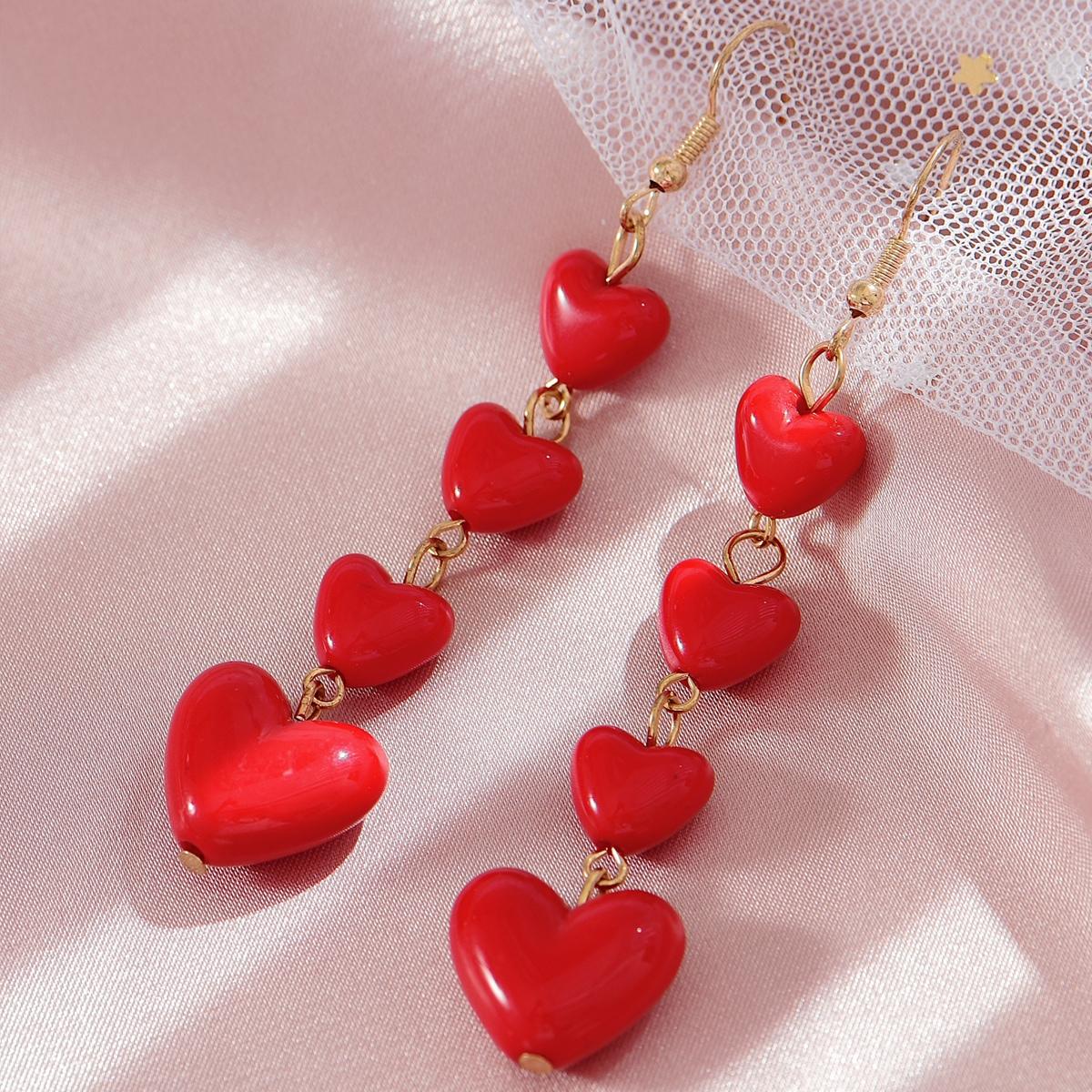 Link Heart Charm Drop Earrings