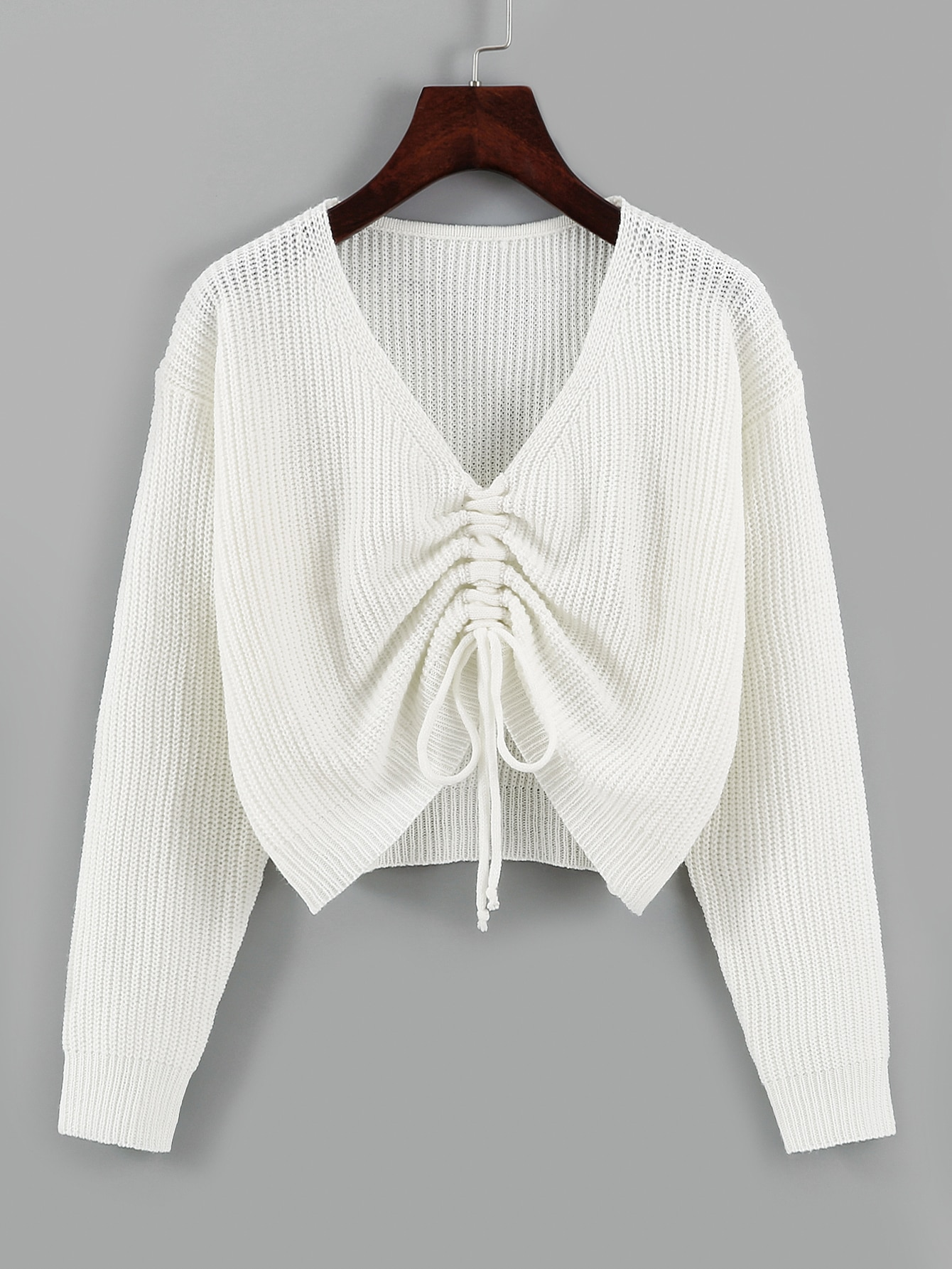Drawstring Front Drop Shoulder Sweater thumbnail