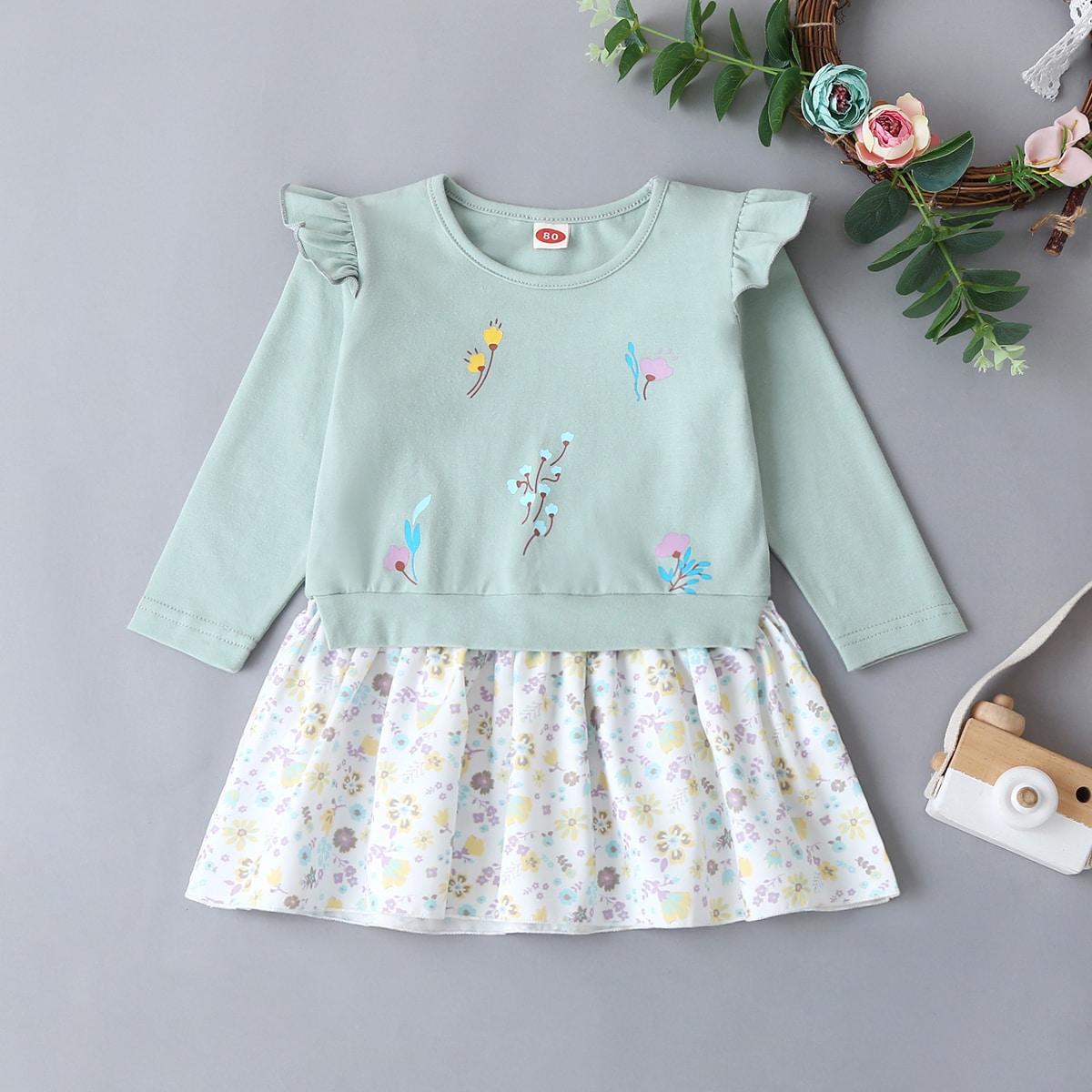 Платье с оборкой и цветочным принтом от SHEIN