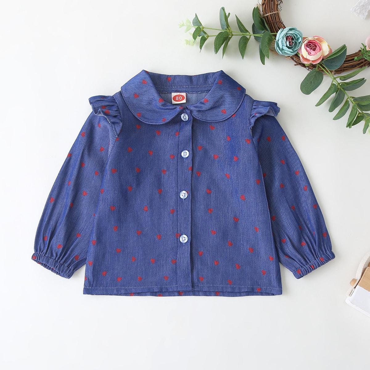 Джинсовая блузка с пуговицами и принтом сердечка для девочек от SHEIN