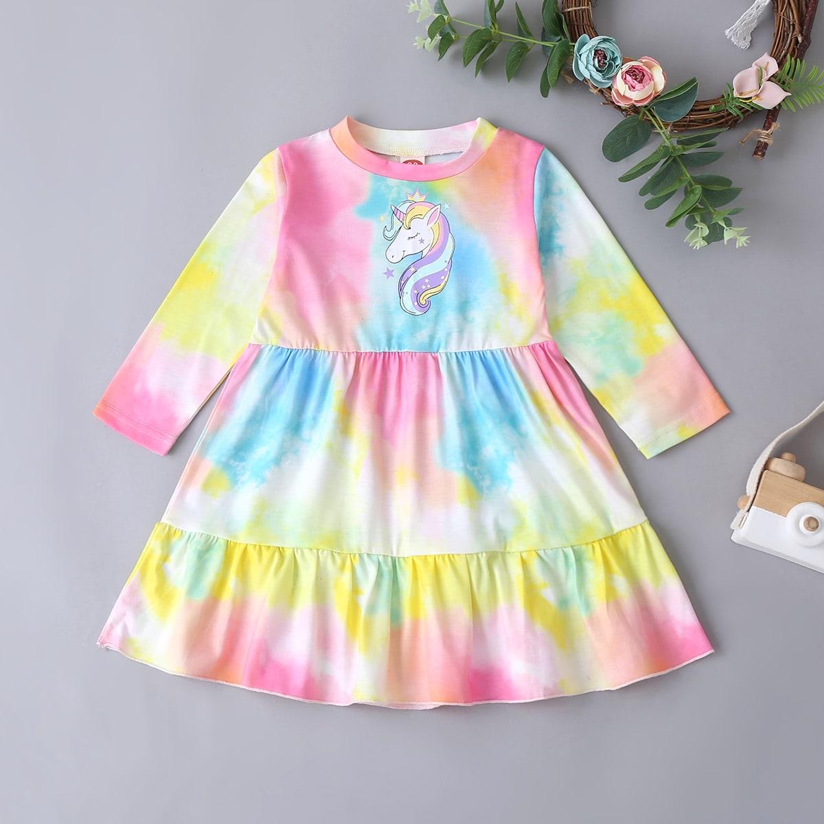 Платье с принтом единорога и тай дай для девочек от SHEIN