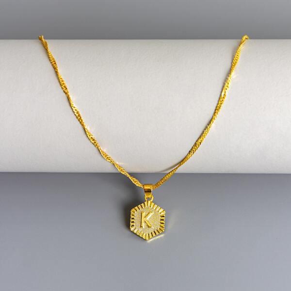 Men Letter Pendant Necklace, Gold