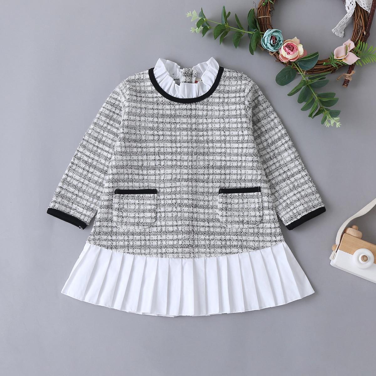 Твидовое платье с плиссированным краем для девочек от SHEIN