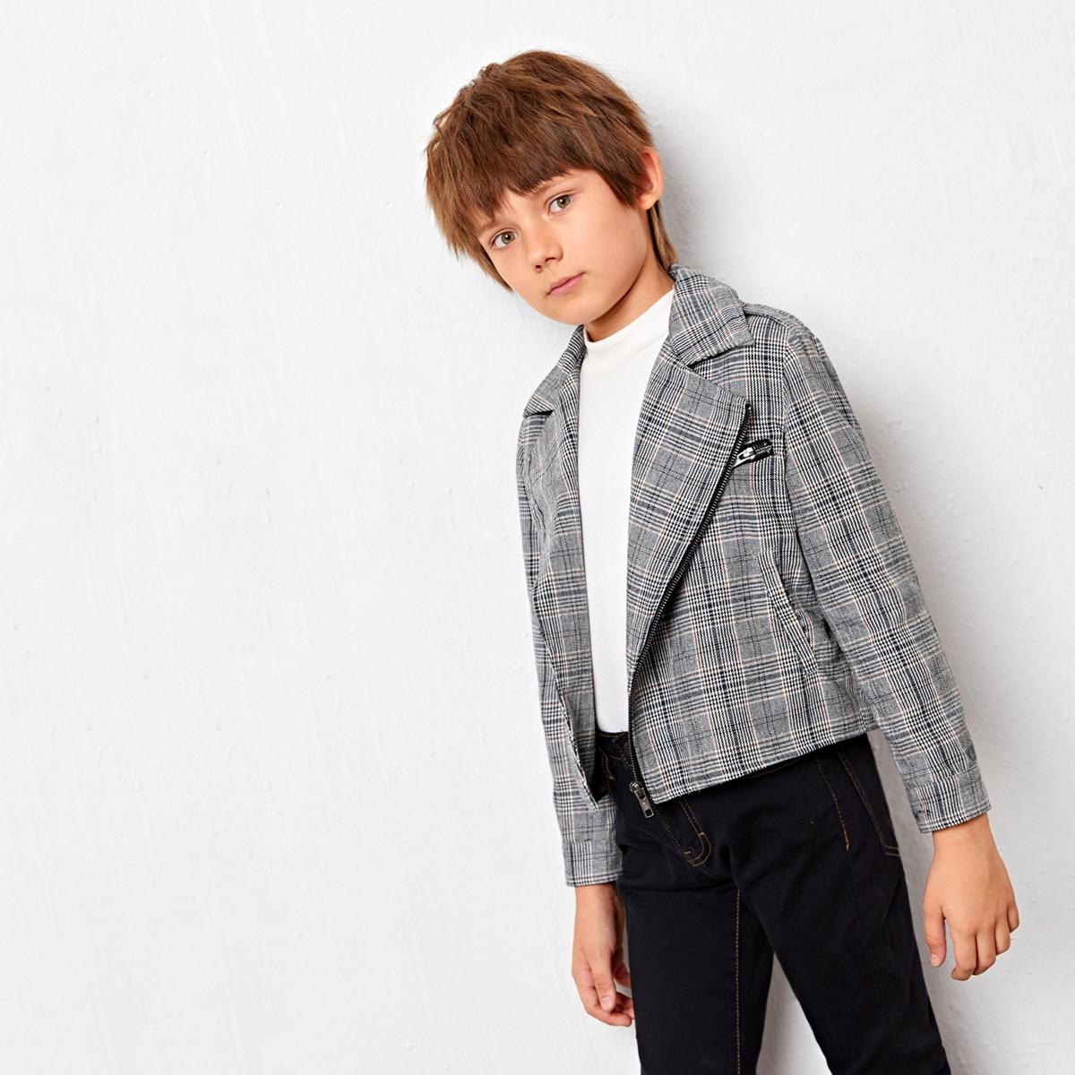 Байкерская куртка в клетку с карманом для мальчиков