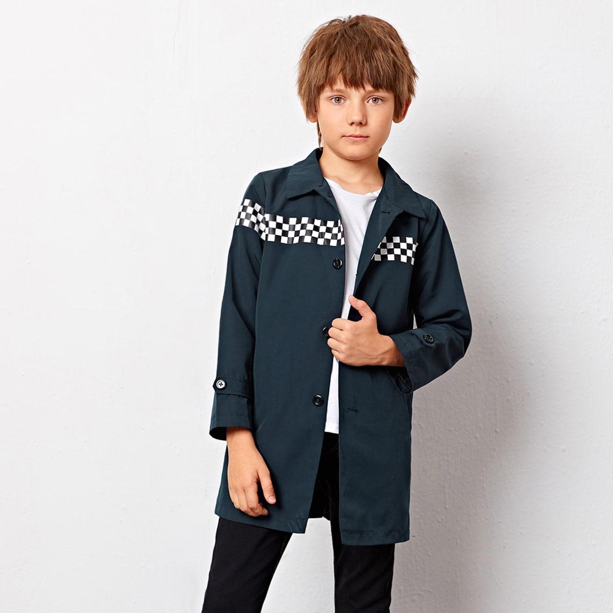 Mantel mit einreihigen Knöpfen und Karo Muster Einsatz