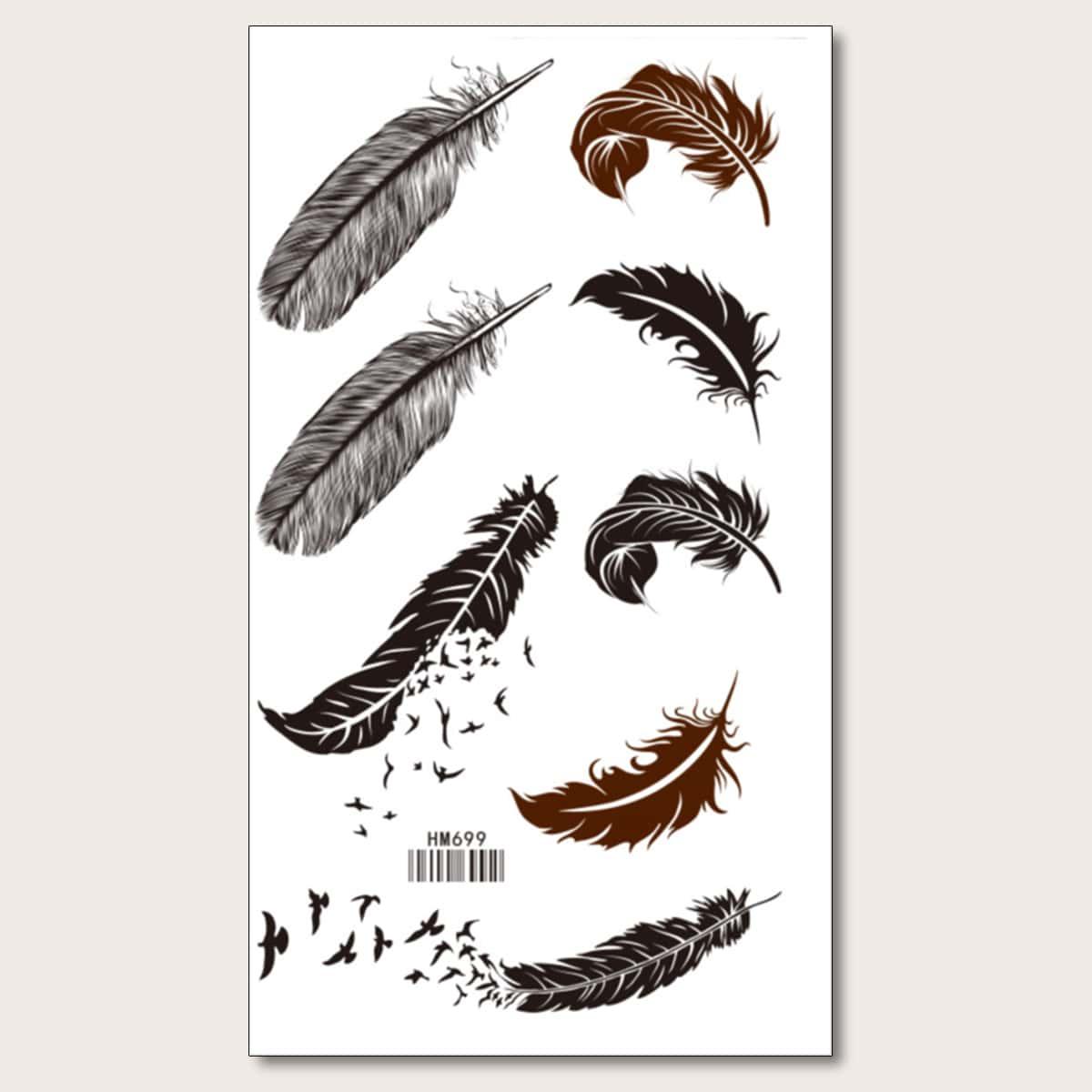 1sheet Feather Pattern Tattoo Sticker