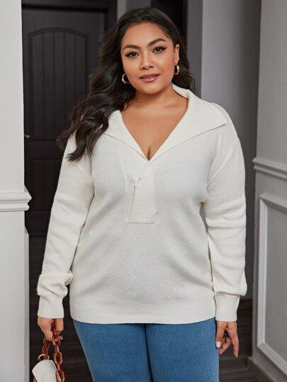 Plus Button Front Half Placket Sweater