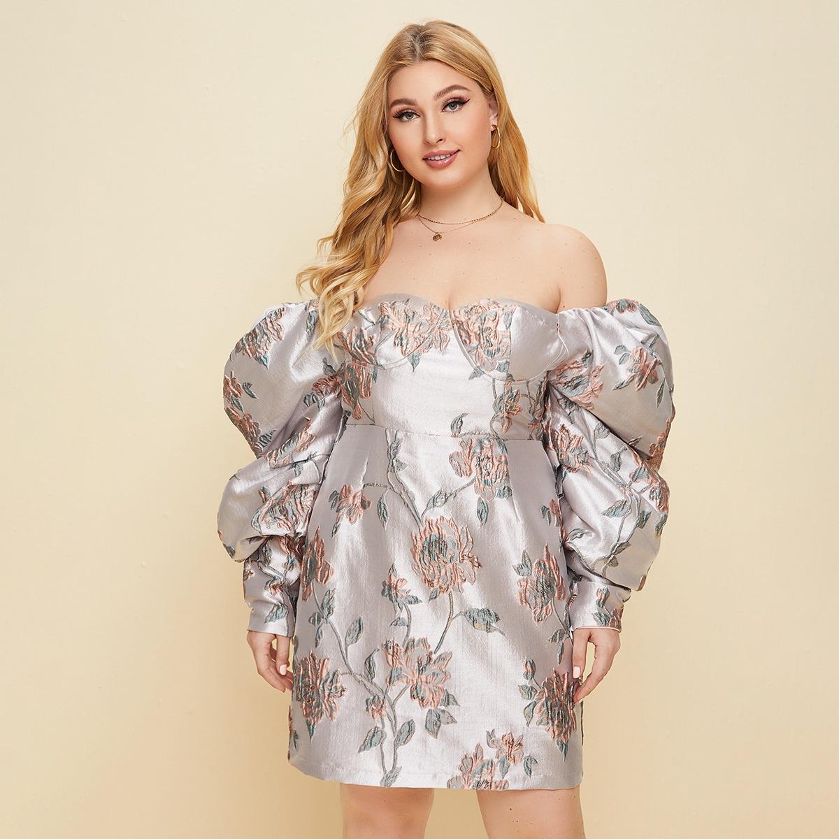 Жаккардовое платье размера плюс с открытыми плечами и присборенным рукавом