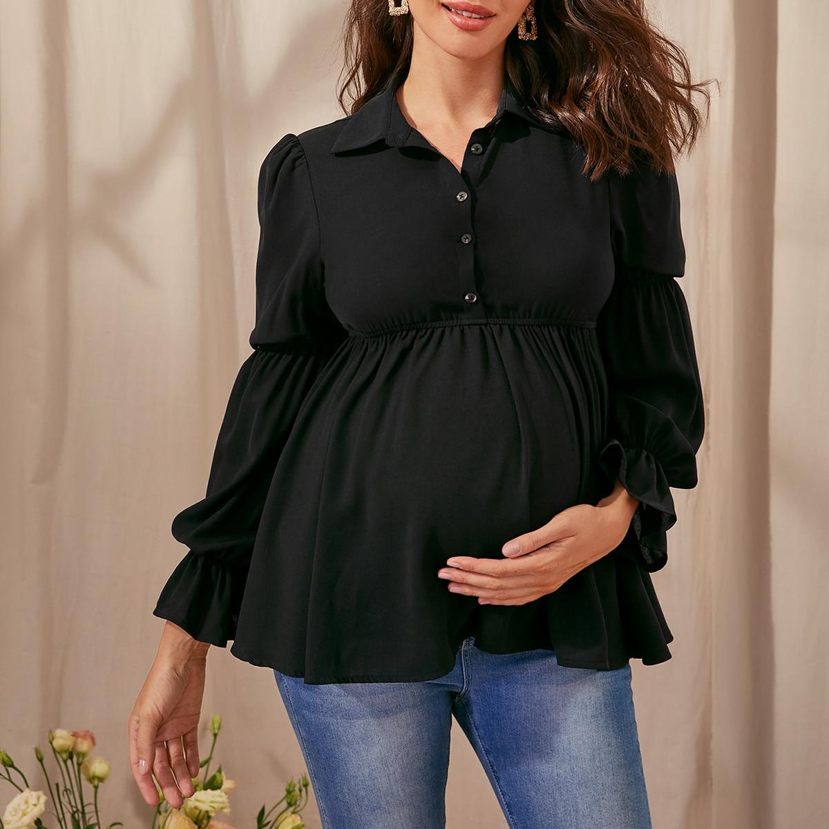 Топ с присборенным рукавом и пуговицами для беременных