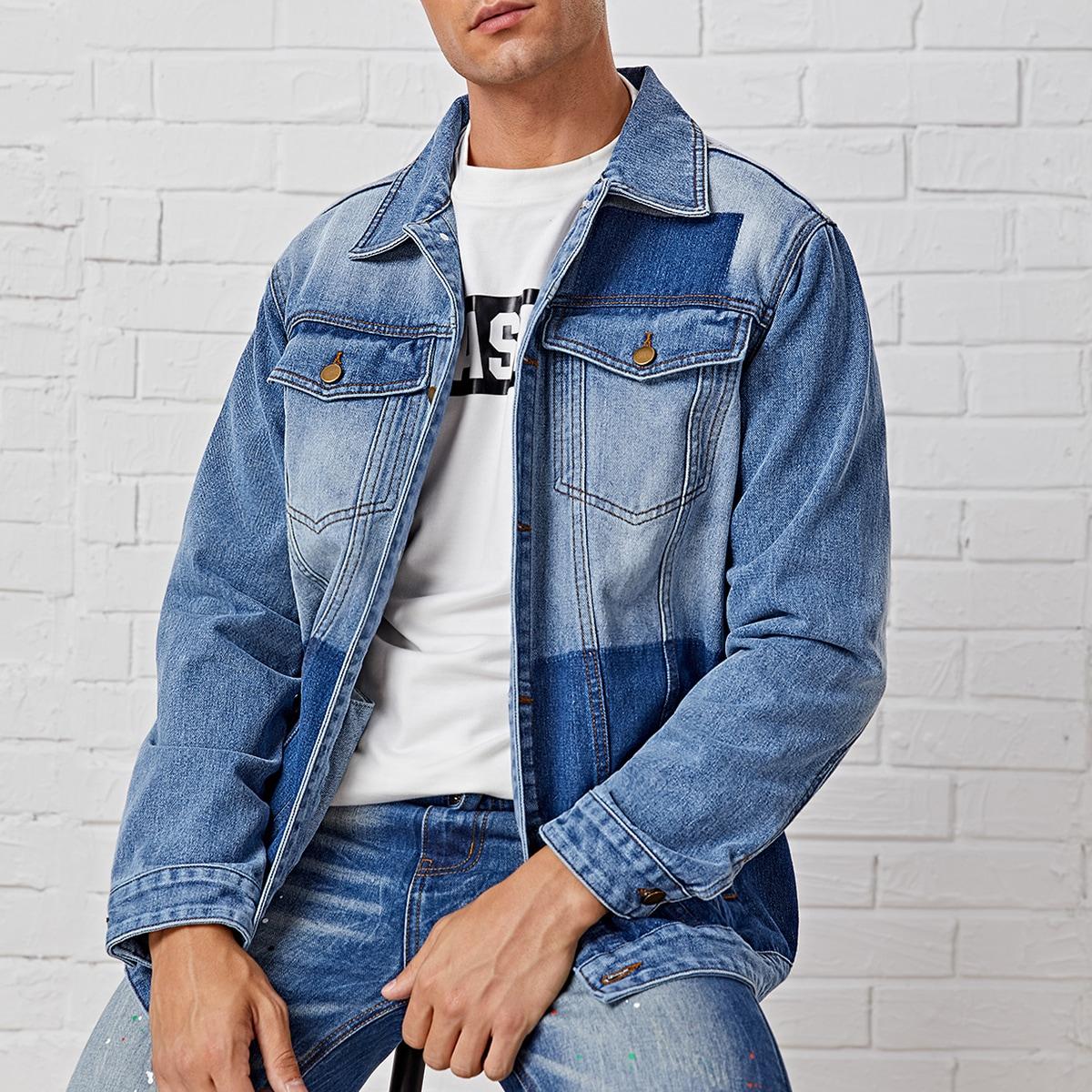Мужская контрастная джинсовая куртка с пуговицами
